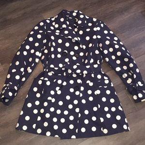 Navy polkadot rain coat.  Anne Klein sz. Large